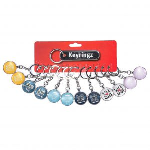 2D Slogan Glass Keyring