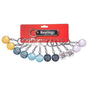 2D Slogan Glass Keyring