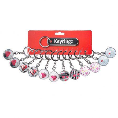 2D Heart Glass Keyring